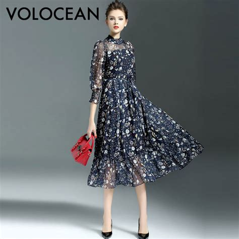 2017 autumn vintage silk maxi dress sweet gown flower print dresses retro slim