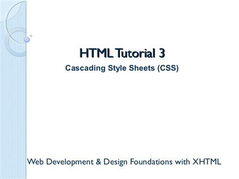 tutorial css ppt cascading style sheets css help