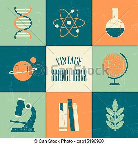 retro vintage style icon collection stock illustration vintage science icons collection a set of vintage style