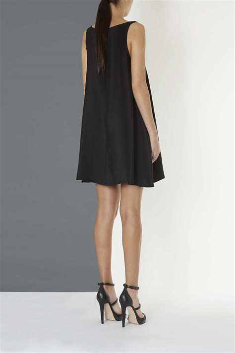 silk swing dress lyst topshop silk swing dress by boutique in black