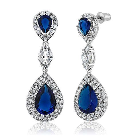 Bross Import Blue Teardrops Zircons Fashion pear shape blue simulated sapphire and zirconia dangle import it all