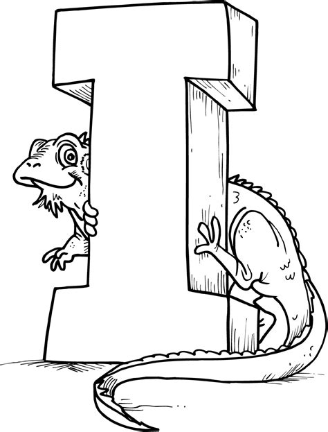 I Coloring Pages by Colouring Page Of Letter I With A Lizard Coloring Point