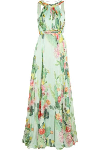Net A Porter Sale Dressing Like A Just Got Cheaper by Matthew Williamson Cactus Garden Printed Silk Chiffon