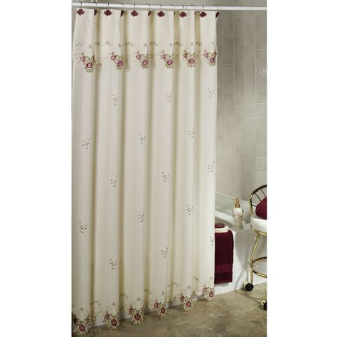 Designer Shower Curtains Decorating Sophisticated White Fabric Shower Curtain With Rods As Well As Cool Grey Wall