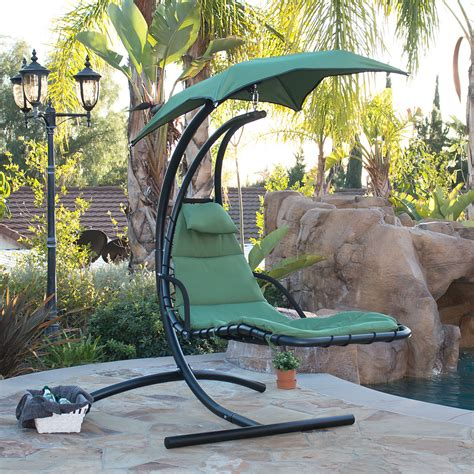 furniture home design outdoor hanging chair with stand hanging chaise lounge chair hammock swing canopy glider