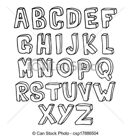imagenes en 3d letras vector clip art de dibujado 3d mano alfabeto hand