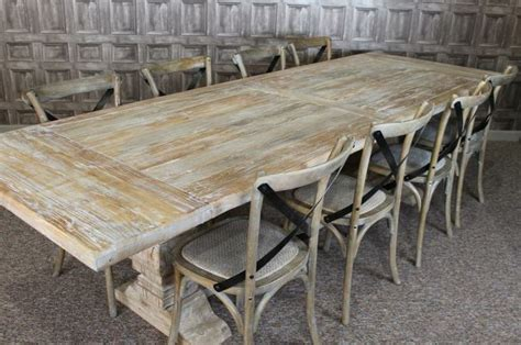 large 3m distressed limed elm dining table white washed