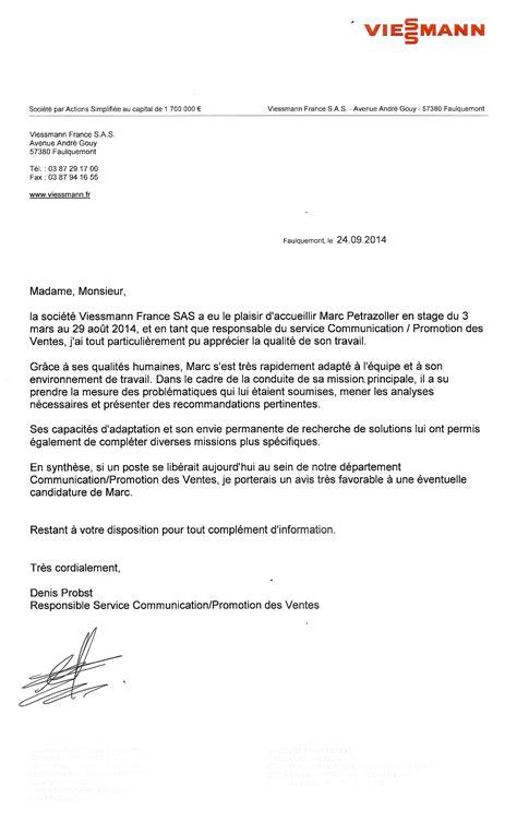 Lettre De Recommandation Recrutement lettre de recommandation viessmann cv marc petrazoller