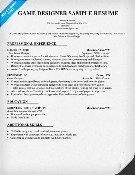 Sample Resume Video Game Designer   Sample Resume