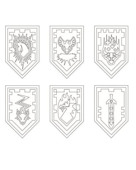 coloring page of a knight s shield nexo lego knights shields coloring page projekty na
