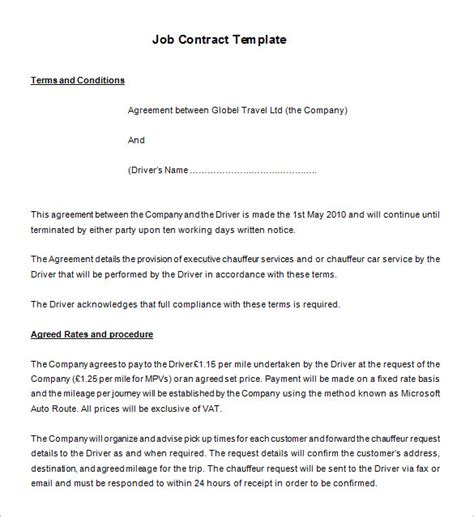 Agreement Letter For Driver 11 Contract Templates Free Word Pdf Documents Free Premium Templates
