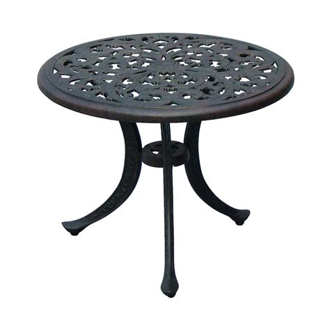 Patio Table L Shop Darlee Series 80 21 In X 21 In Antique Bronze Cast Aluminum Patio End Table At Lowes