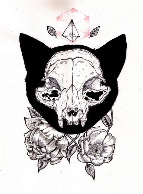 cat skull tattoo 1000 ideas about cat skull on