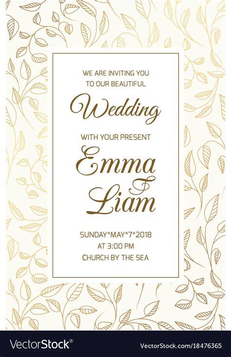wedding invitation card template swirl leaves gold