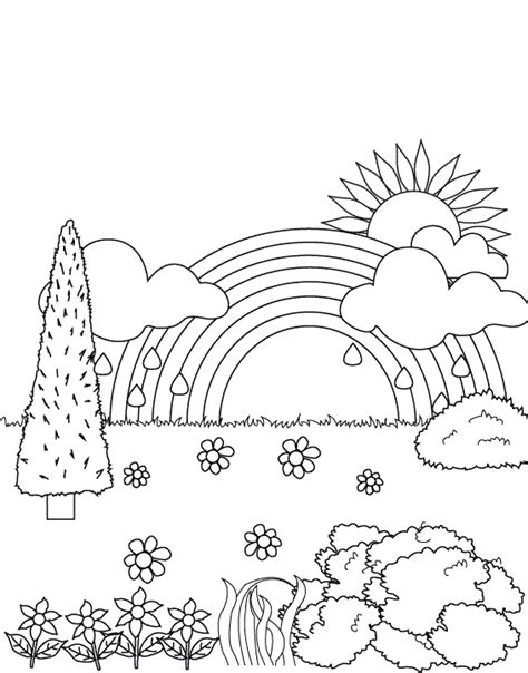 Pictures Of Rainbows To Color by Rainbow In The Garden Coloring Pages Rainbow Coloring