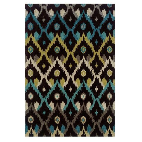 linon home decor rugs linon home decor trio collection black and teal 5 ft x 7