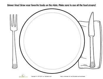 Dinner Plate Coloring Page Printable And Templates Pinterest Food Pyramid Kids Kids Health Phlet Template