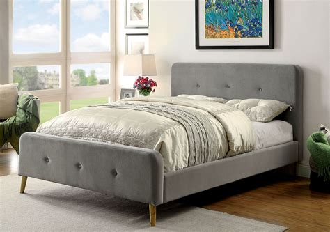 tufted full size bed transitional grey full size button tufted platform bed