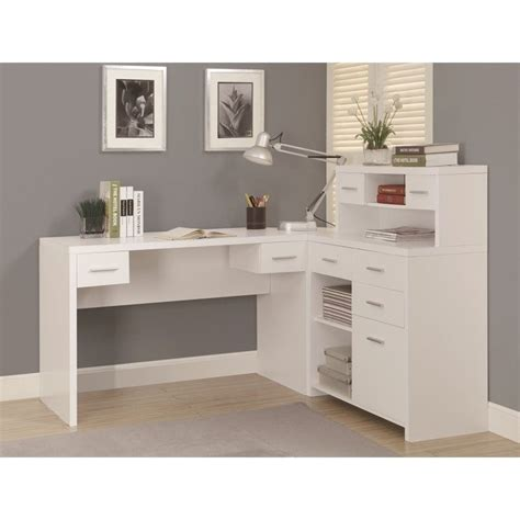 L Shaped Home Office Desk With Hutch In White I 7028 Office Desks With Hutch