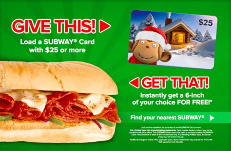 Where Can I Buy A Subway Gift Card Uk - subway canada holiday card promotions load a 25 gift card and receive 1 free 6 inch