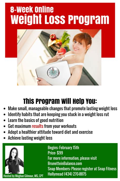 weight loss 8 week program 8 week weight loss program begins february 15th