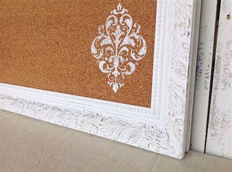 framed cork board shabby chic decor white and gold large