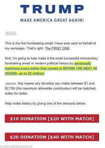 Fundraising Match Letter Donald Pledges To Match Donations Dollar For Dollar In Fundraising Email Daily