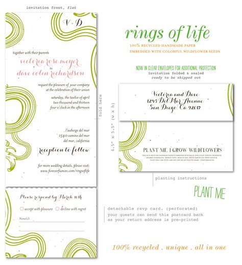 wedding invitations all in one all in one wedding invitations on white seeded paper rings of by foreverfiances weddings