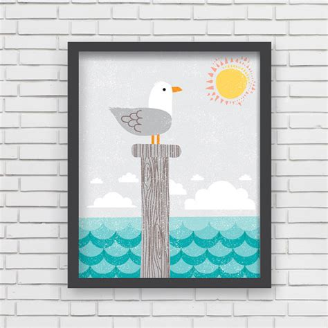 Nautical Nursery Wall Decor Home Decor Nautical Nursery Wall Seagull Print