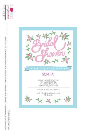 bridal shower party printables  love party