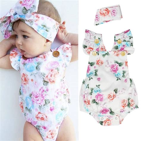 Clothes Baby 1 2pcs newborn infant baby romper bodysuit headband clothes set ebay