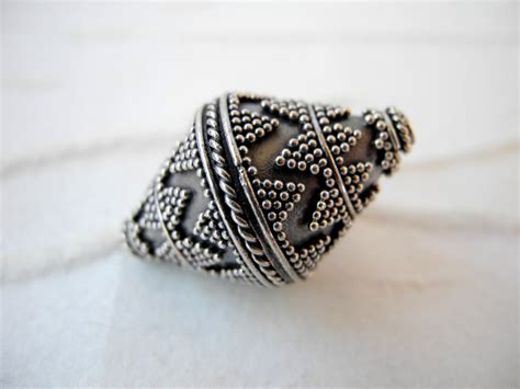 silver bead bali sterling silver bead large oxidized silver bicone