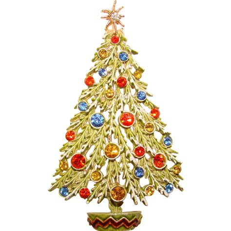 signed art enamel rhinestone vintage christmas tree pin