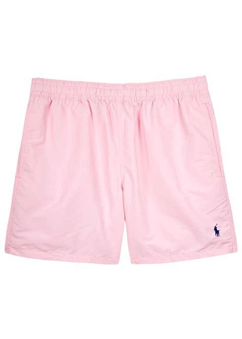 light pink shorts lyst polo ralph lauren hawaiian light pink swim shorts