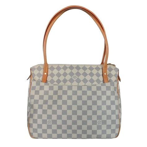 Louis Vuitton Dust Bag louis vuitton damier azur figheri pm handbag tote in dust bag at 1stdibs
