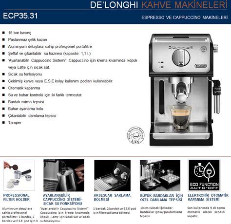 Delonghi Ecp35 31 delonghi ecp35 31 espresso cappuccino makinesi espresso ve