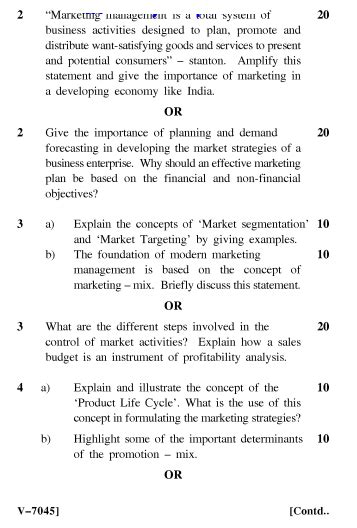Marketing Management Question Paper For Mba Pdf by Uptu Marketing Management Mba 2006 07 Question Paper