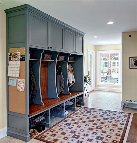 Distressed Entryway Bench Classic Mudroom Cubbies Traditional Entry