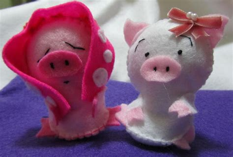 Boneka Pink Piggy 12 pink pig felt for yenny twee s crafting gift project