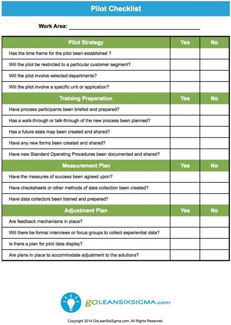 six sigma template pilot checklist goleansixsigma lean six sigma