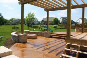 Stained Pergola by Stained Concrete Patios Kansas City Concrete Staining