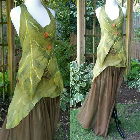 Fairism Dress nuno felted woodland dress in brown and green elven