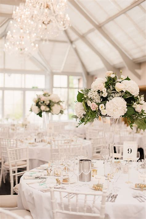 Flower Wedding Reception Centerpieces by Classic Wedding At Botleys Mansion With Ellis Bridals Gown