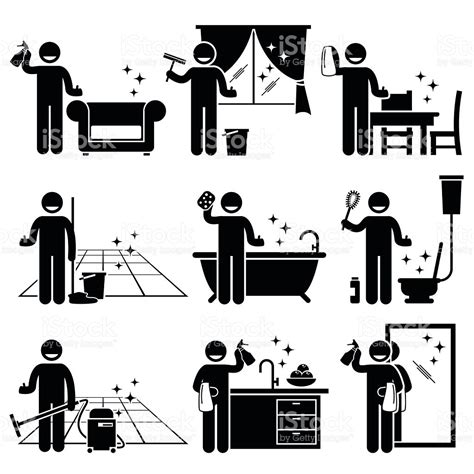 schlafzimmer arrangement tool washing and cleaning house pictogram stock vector