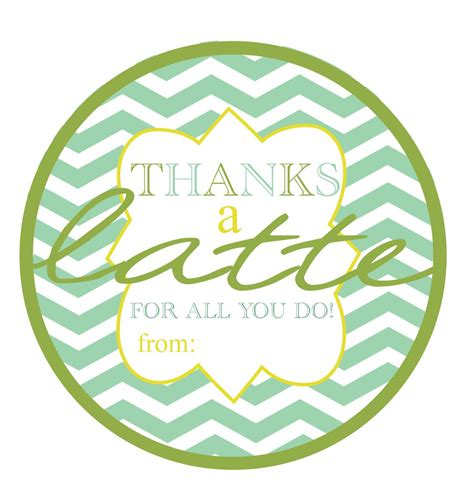 thanks a latte card template nestling freebie friday diy thank you tags