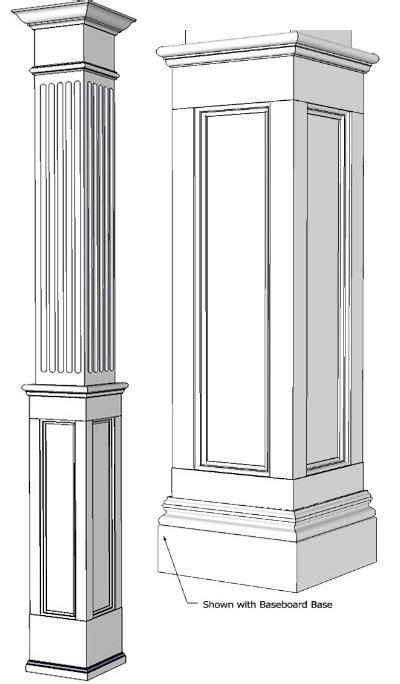 mdf pillars square  fluted recessed panelled column