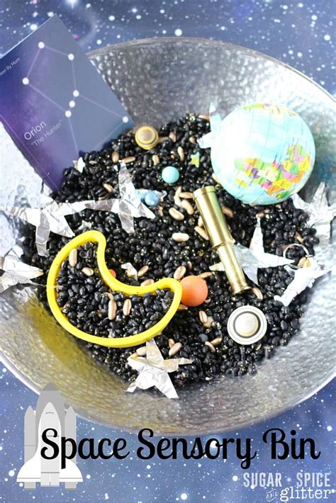 space sensory space sensory bin sugar spice and glitter