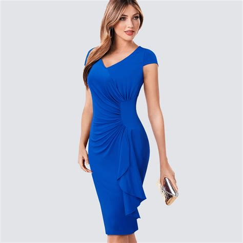 41316 V Neck Elegance Sml Dress summer v neck ruched draped casual work office business sheath fitted bodycon