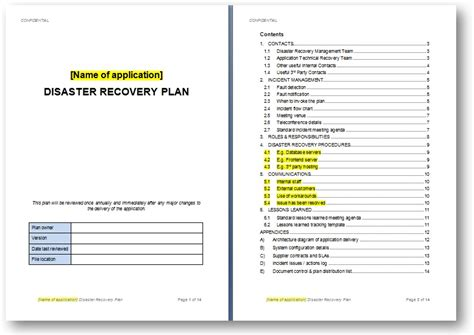 disaster recovery plan template the continuity advisor