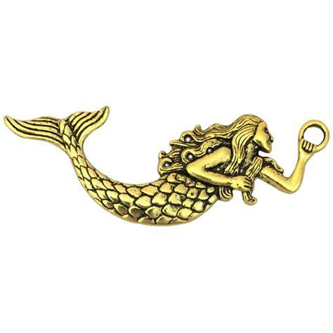 Mermaid Charm Large gold mermaid pendant in pewter large 187 mermaid charm